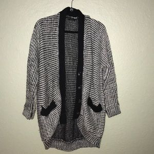 Black/Grey Oversized Cardigan